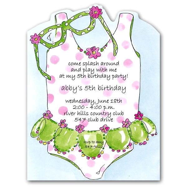 Girly Swimsuit and Glasses Birthday Invitations p 19 5137
