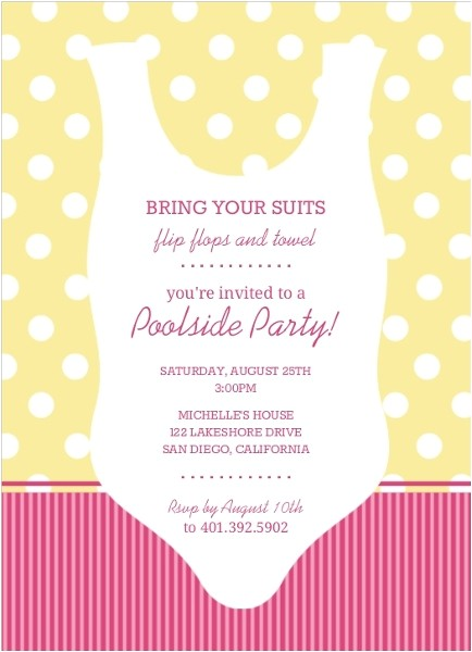 yellow and pink swimsuit silhouette pool party invitation
