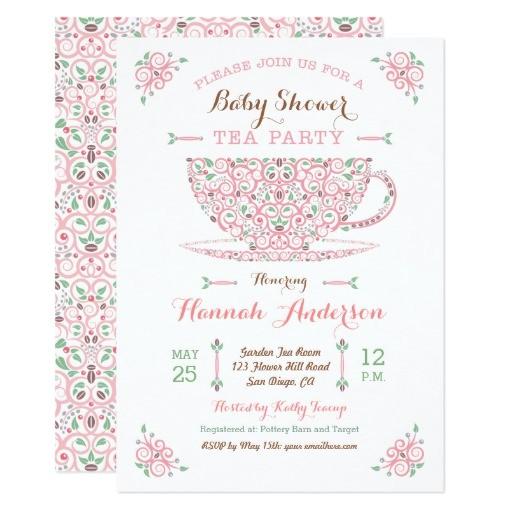 baby shower tea party baby girl ii invitation