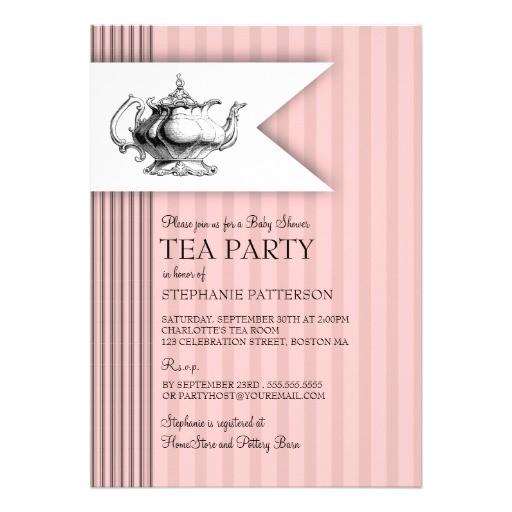 elegant tea ticking stripe baby shower tea party invitation
