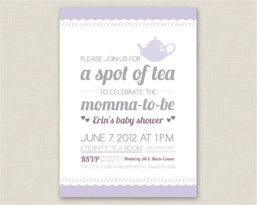 tea party invitation baby shower