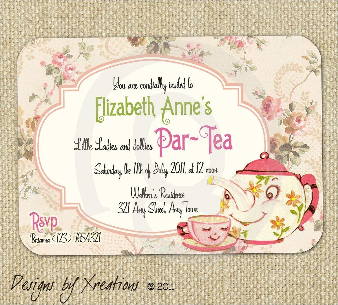 Tea Party Invitation Ideas Cute Vintage Tea Party Invitation Digital Template