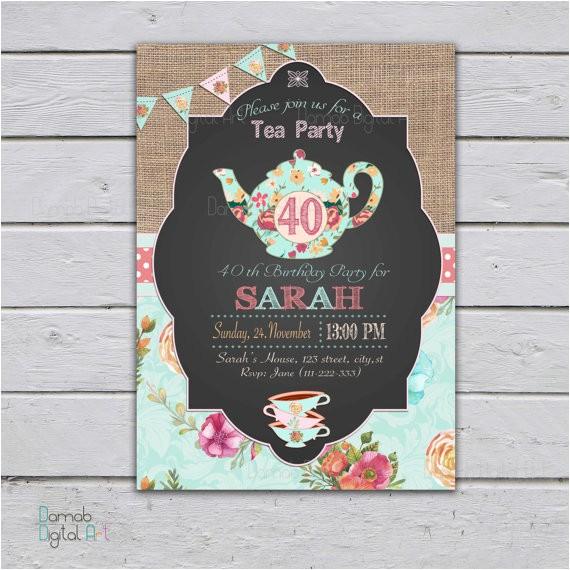 adult tea party invitation high tea
