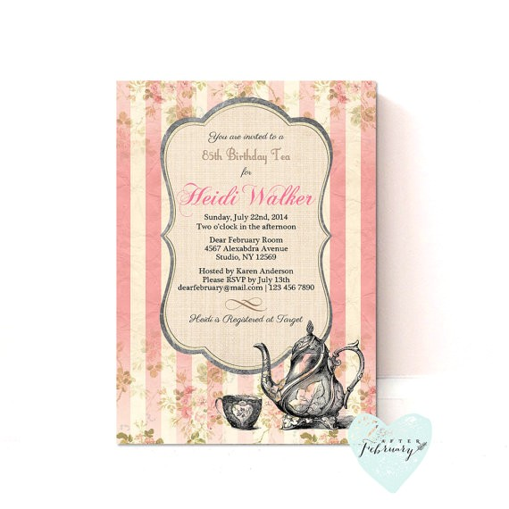 birthday tea party invitation adult girl