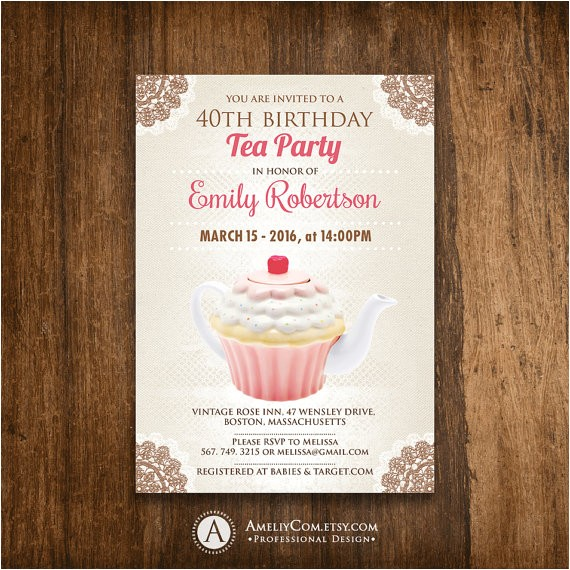 birthday tea party invitation girl adult