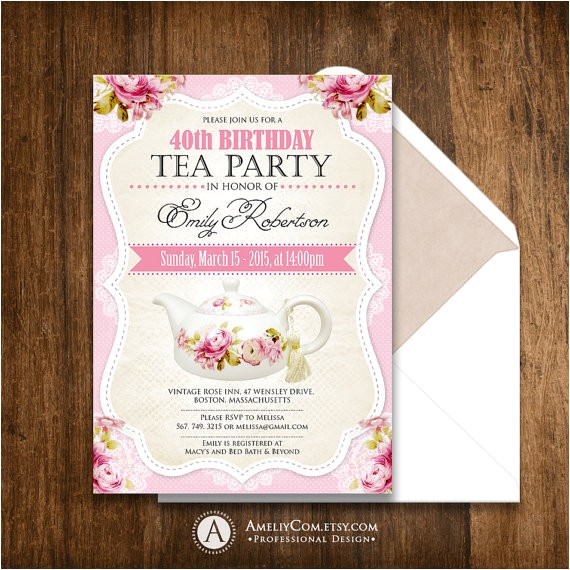 tea party birthday invitation printable