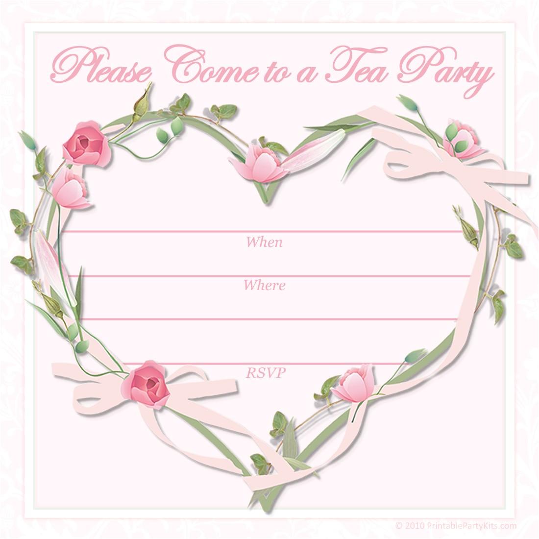 pink tea party invitations