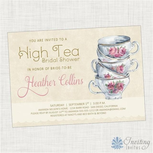 Tea Party themed Baby Shower Invitations Vintage Tea Cup Bridal Shower Invitation Baby Shower
