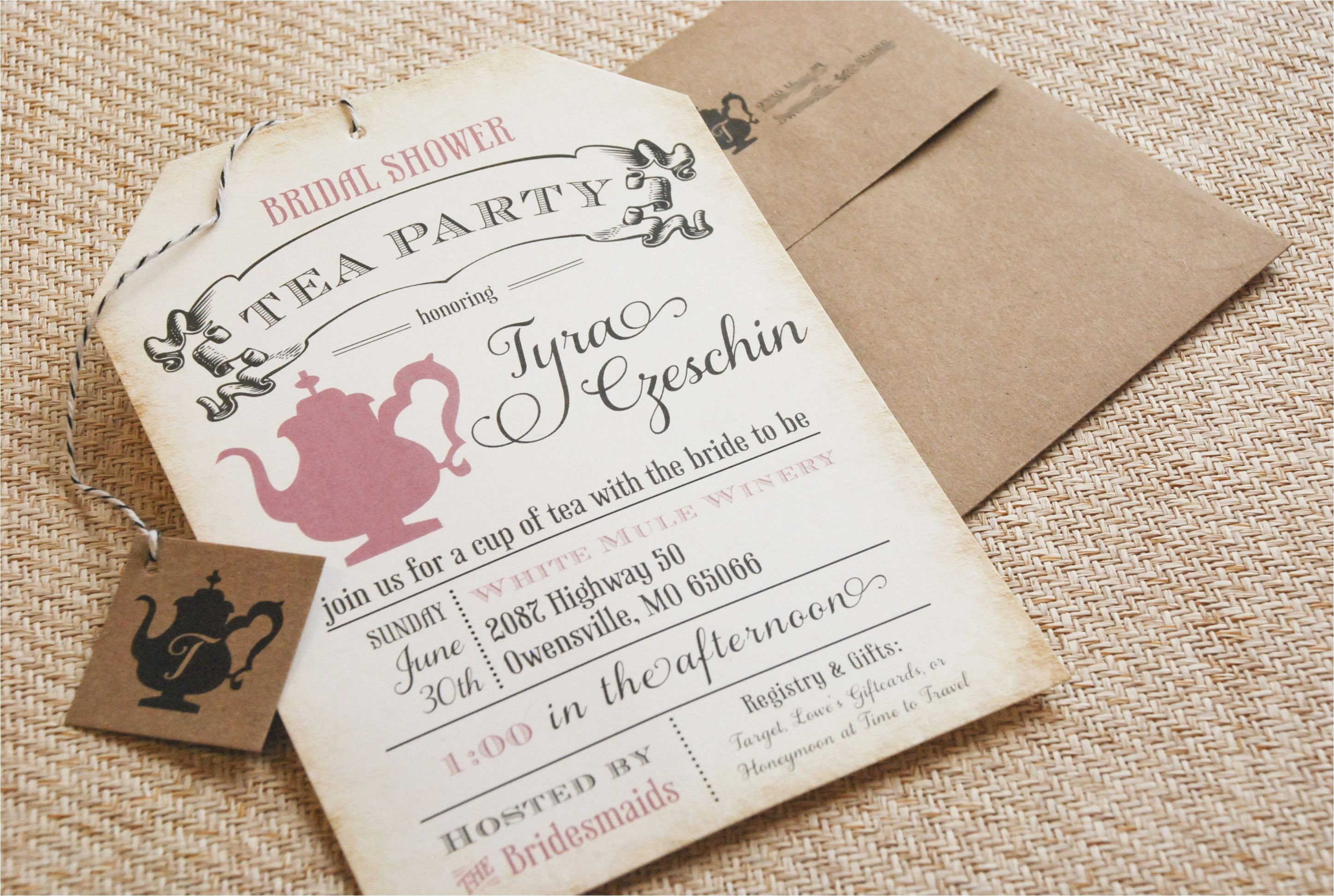 bridal shower tea party invitation poem