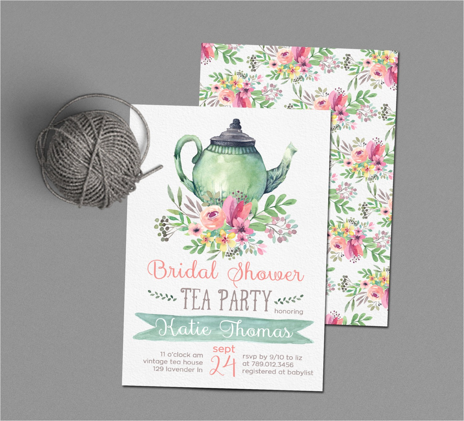 tea party bridal shower invitations