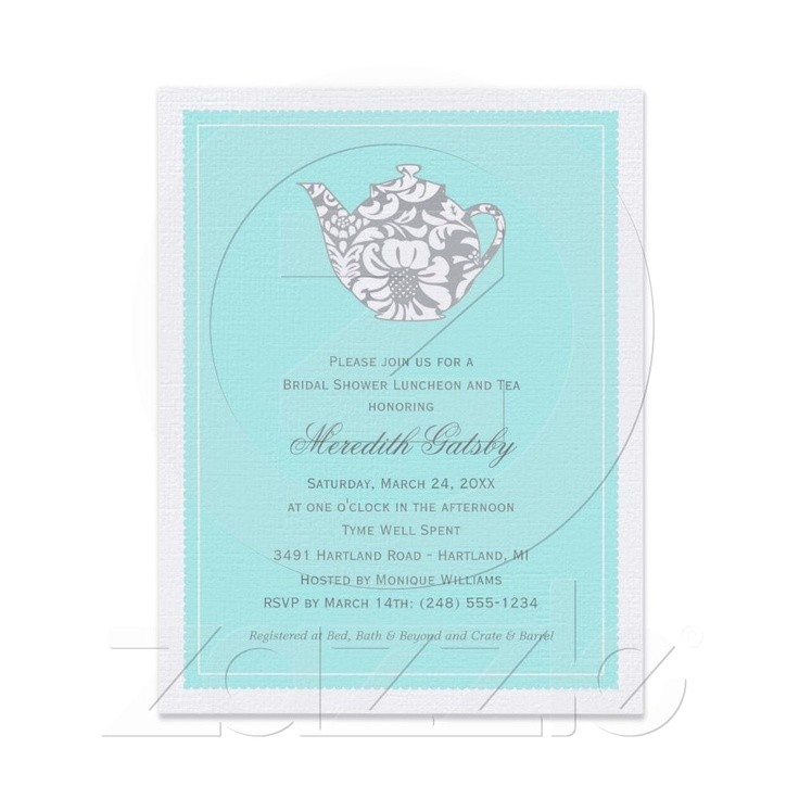 bridal shower invitations tea theme