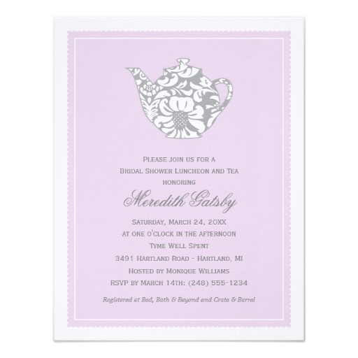 wedding bridal shower invitation high tea theme