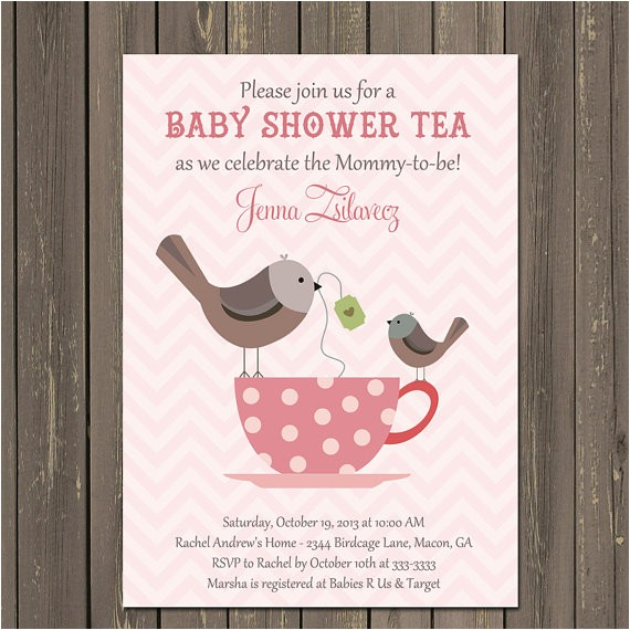 birds teacup baby shower tea invitation