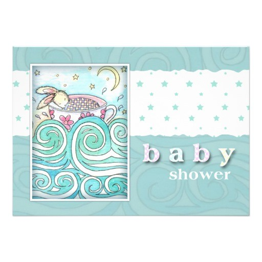 bunny in teacup baby shower invitations