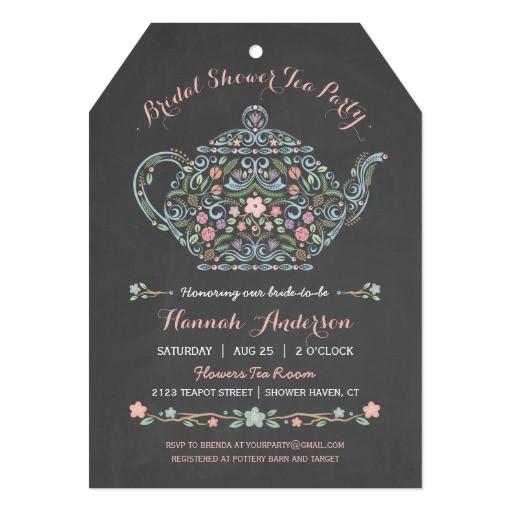 elegant teapot bridal shower chalkboard invitation 256710662661364112