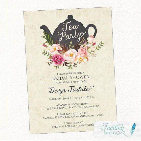 Teapot Bridal Shower Invitations Tea Party Bridal Shower Invitation Teapot Watercolor