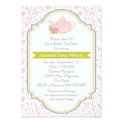 tea party teapot paisley pink green bridal shower invitation 161696829393507768