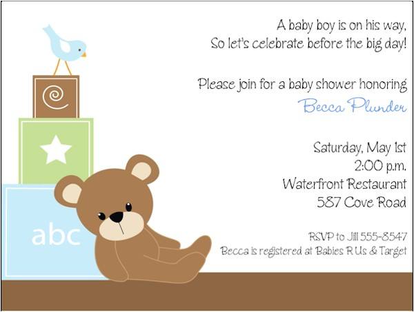 free printable teddy bear baby shower invitations