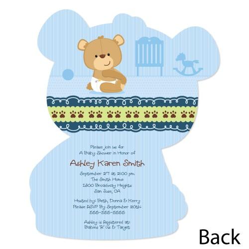 boy teddy bear shaped baby shower invites
