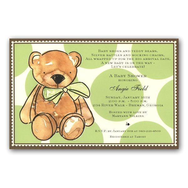 Brown Teddy Bear Baby Shower Invitations p 39 1C 94 BS
