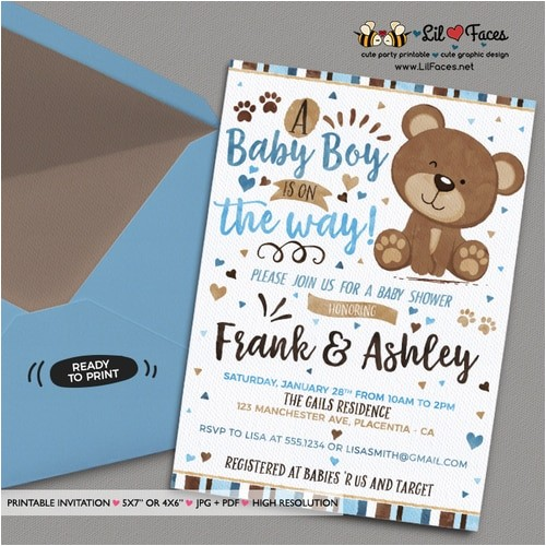 blue and brown little bear baby shower invitation blue and brown bear invitation diy printable couples blue and brown bear baby shower invitation