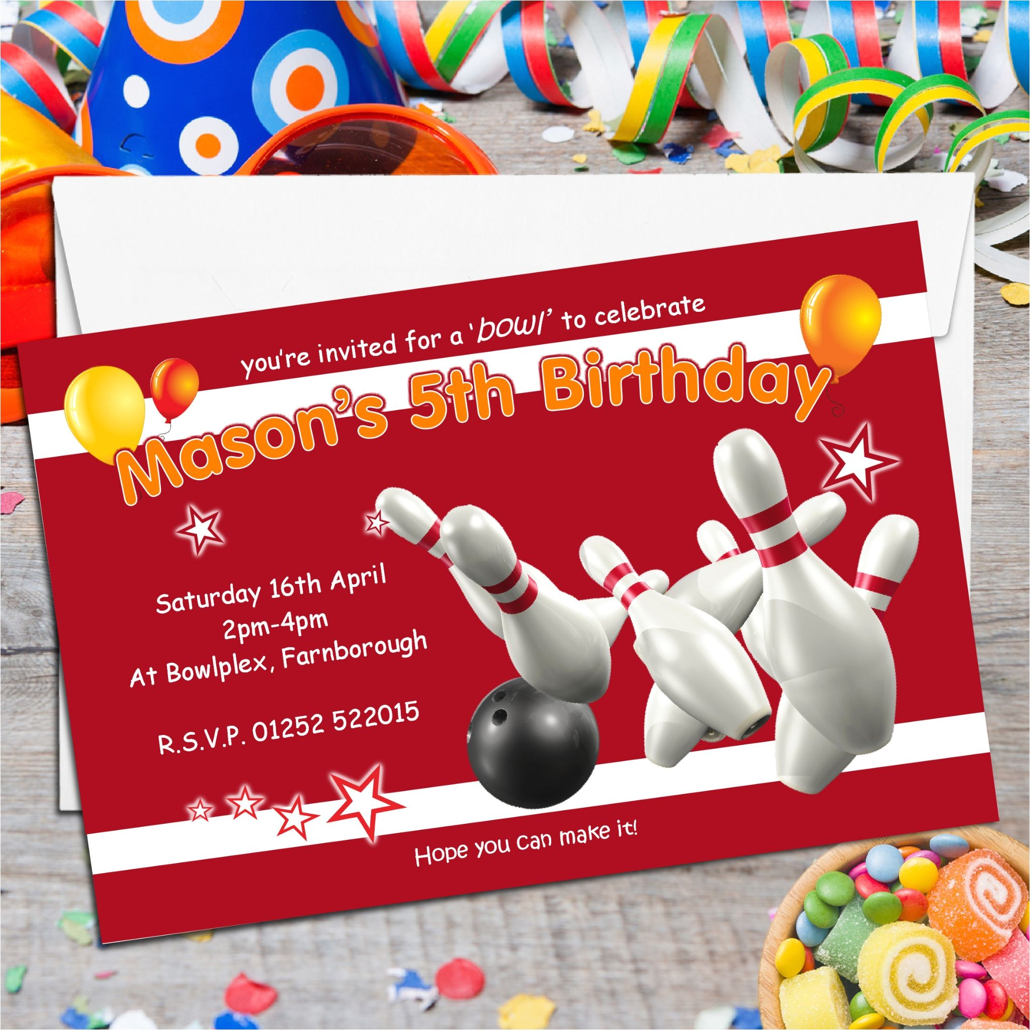 10 personalised ten pin bowling birthday party invitations n122 5537 p