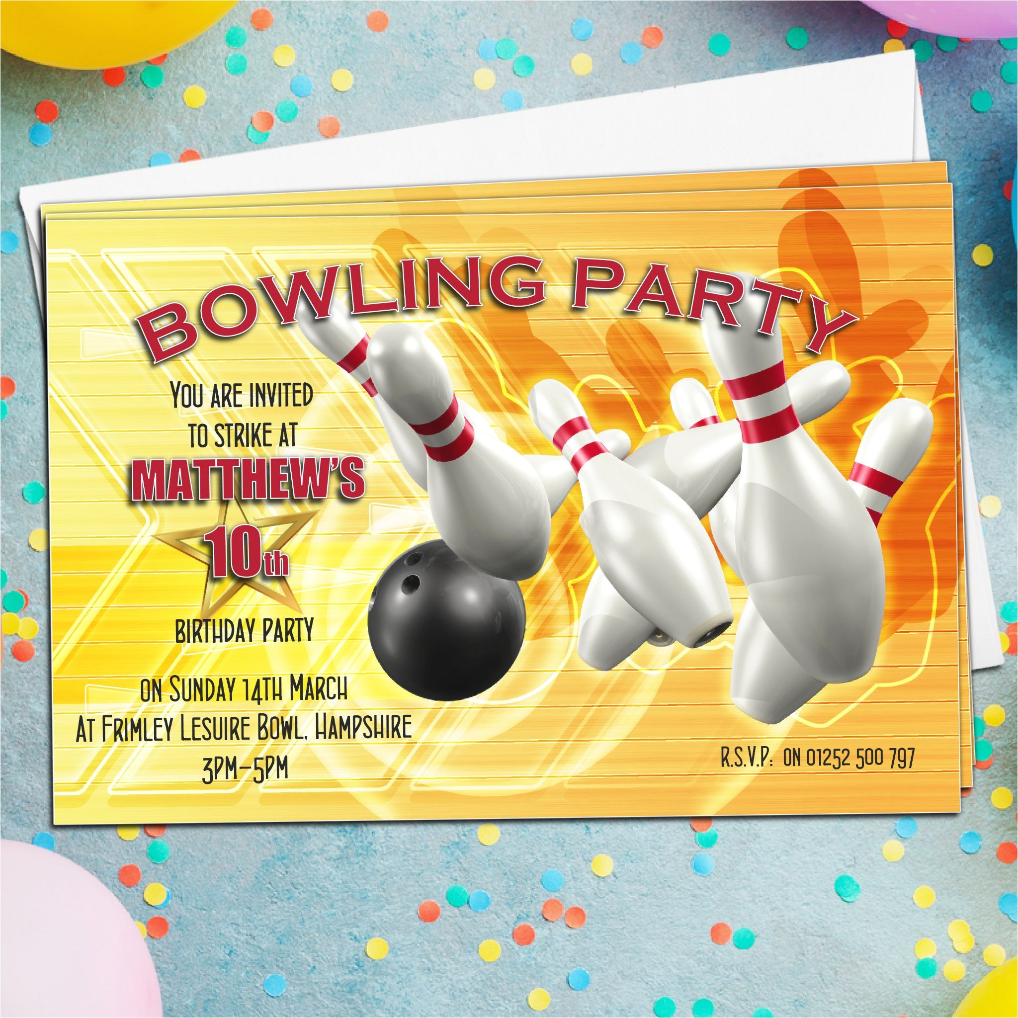 10 personalised tenpin bowling birthday party invitations n1 843 p
