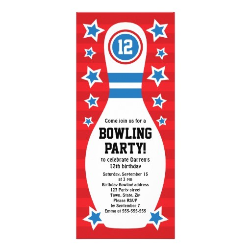 ten pin bowling birthday invitation