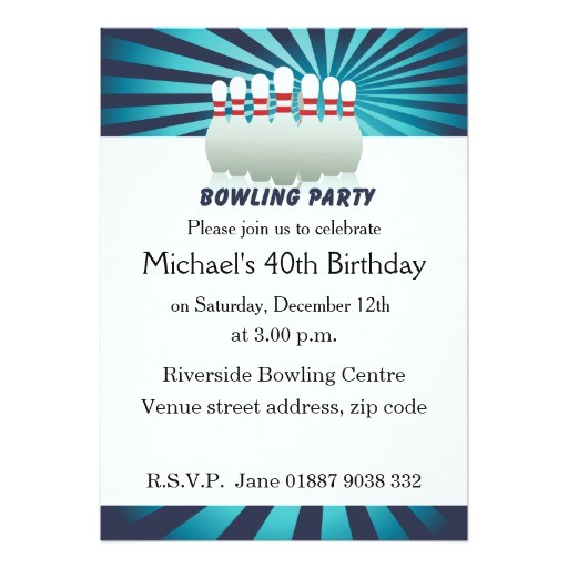 stylish ten pin bowling birthday party invitation