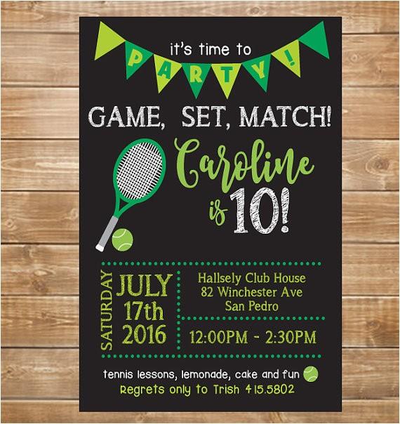tennis birthday party invitation tennis