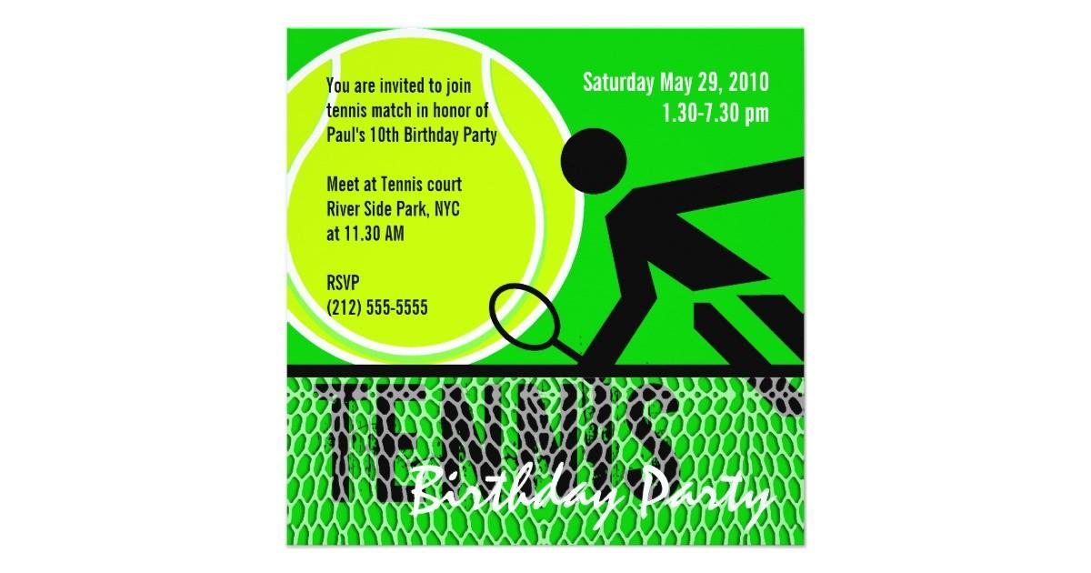 tennis birthday party invitation 161068901667386760