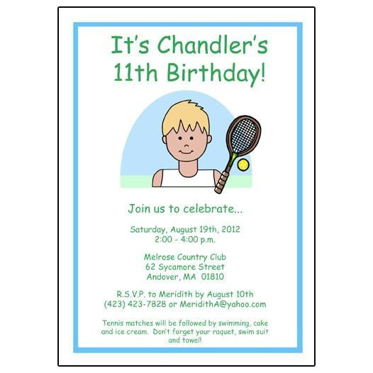 tennis kids birthday party invitations boy