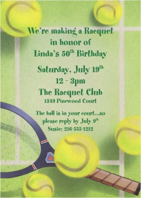 Tennis Birthday Party Invitations Tennis Party Invitation