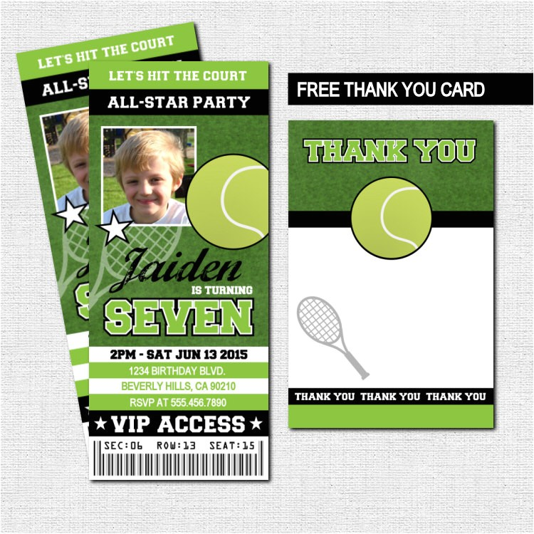 tennis ticket invitations birthday party
