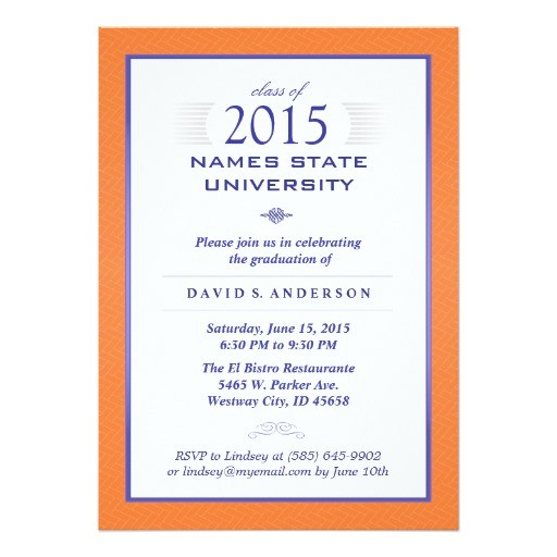 orange blue formal graduation party invitation