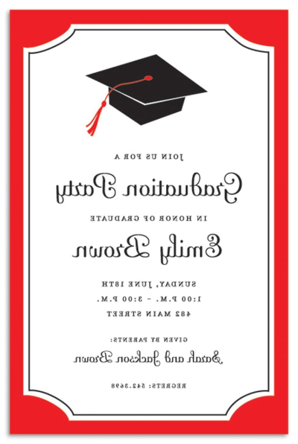 remarkable with university of texas graduation celebration party invitation and red black border colors