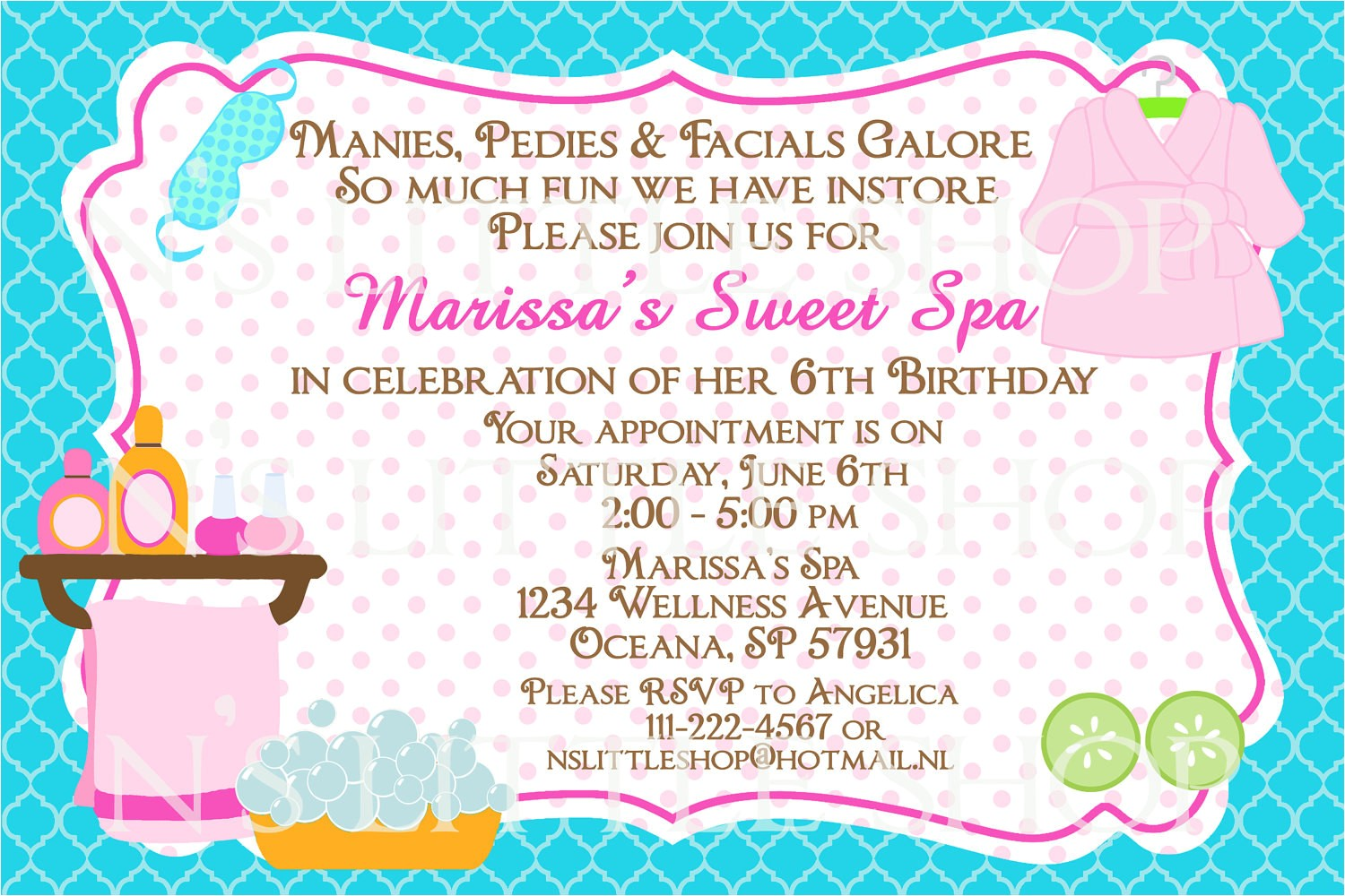 spa party birthday invitation card