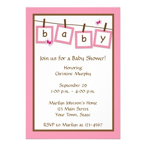 baby text clothesline baby shower invitation