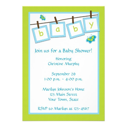 "Text for Baby Shower Invite Baby Text Clothesline Baby Shower Invitation 5"" X 7"