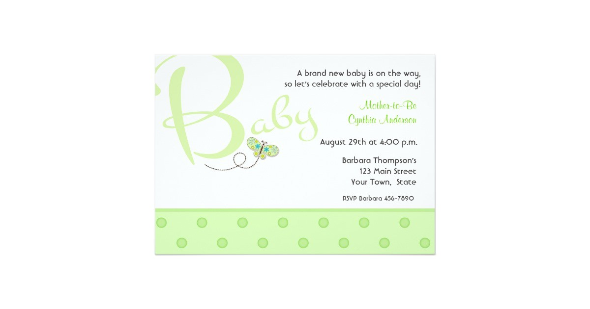 baby text green baby shower invitation