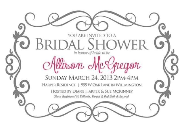 Text for Bridal Shower Invitation Bridal Shower Invitation Gray and Pink Bride Shower
