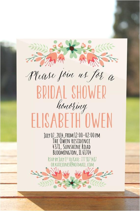 rustic bridal shower invitation floral