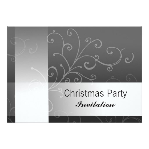 christmas party invitation black swirl with text