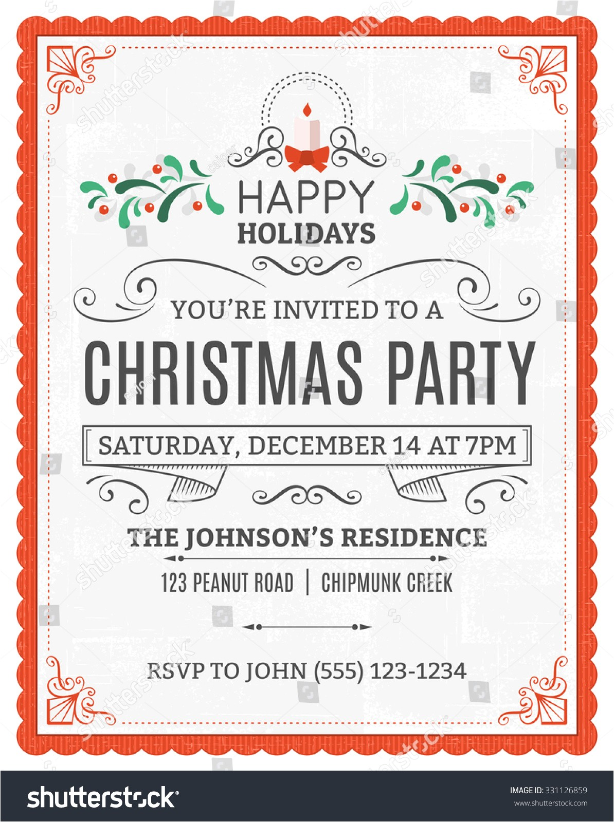 stock vector vector christmas party invitation dummy text is on a separate layer for easy removal only solid