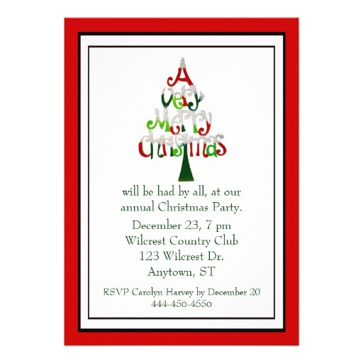 Text for Holiday Party Invitation Whimsical Text Tree Christmas Party Invitation