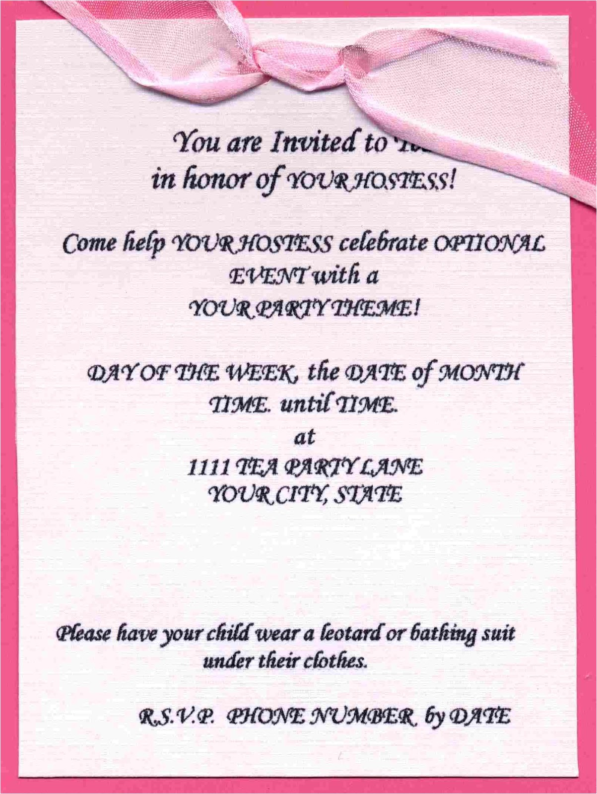 invitation letter for birthday party in english