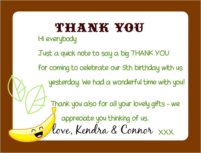 kandcturn5 5th birthday monkey party thank you notes