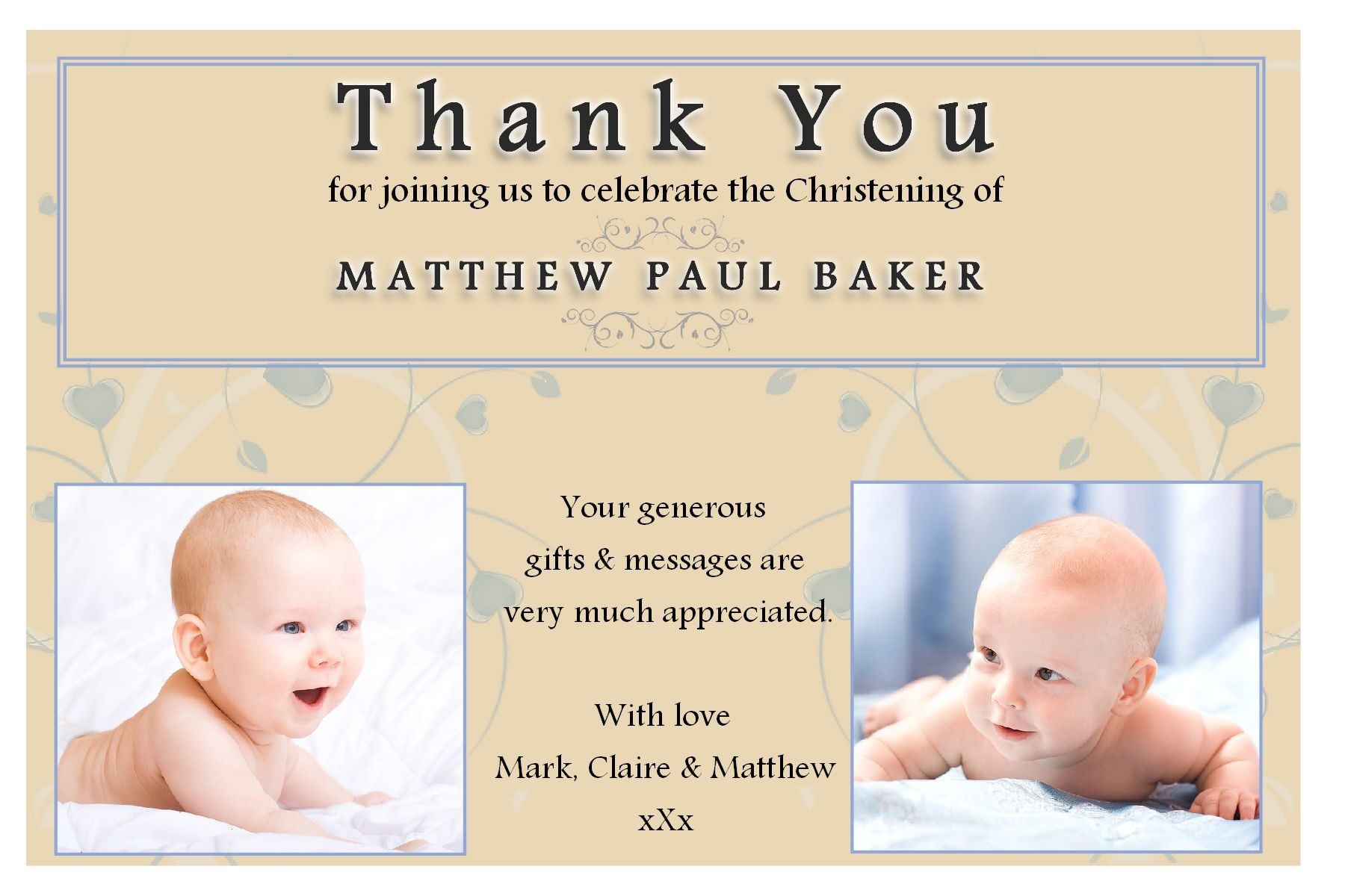 10 personalised christening baptism thankyou photo cards n193 4730 p