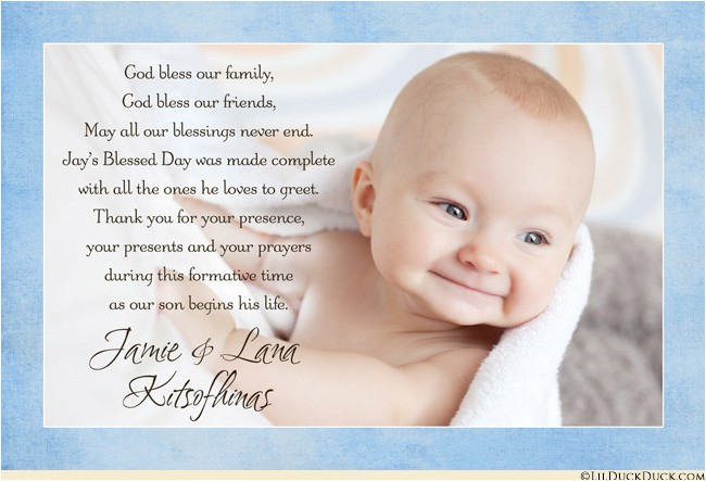 blessed baby photo thank you card