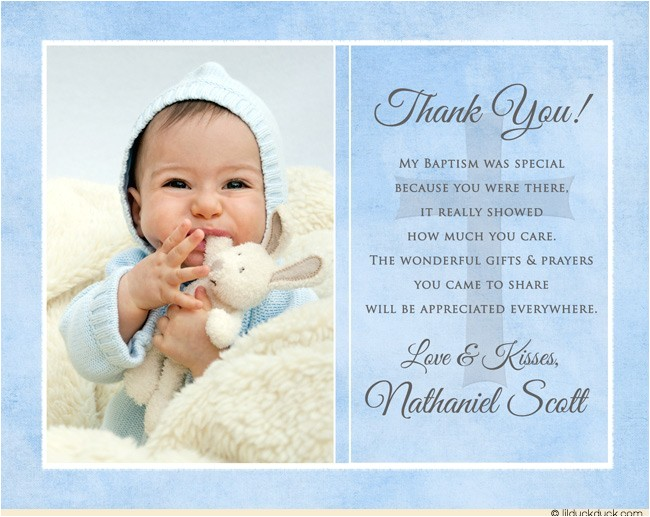blue single photo christening thank you